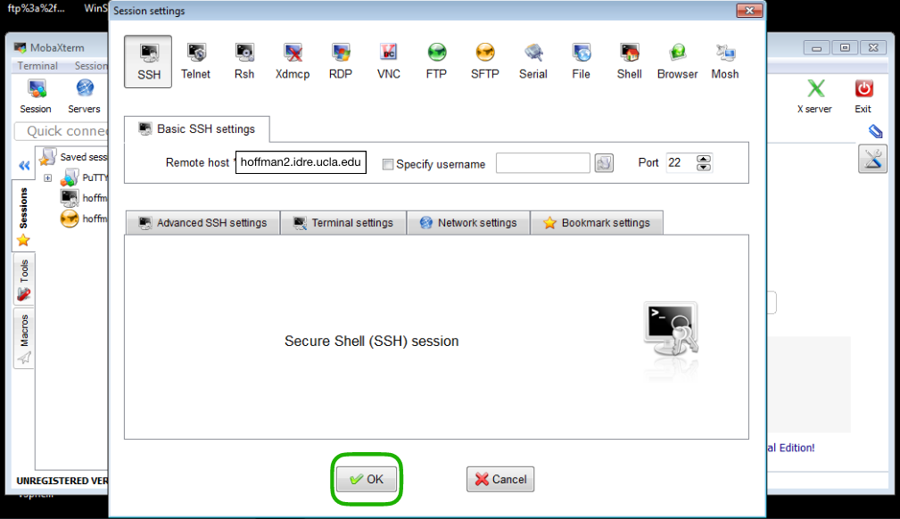 Image showing the MobaXterm application open with the SSH Sessions in which the Remote host field has been filled with the Hoffman2 Cluster address (hoffman2.idre.ucla.edu). The OK button in the center bottom is circled in green