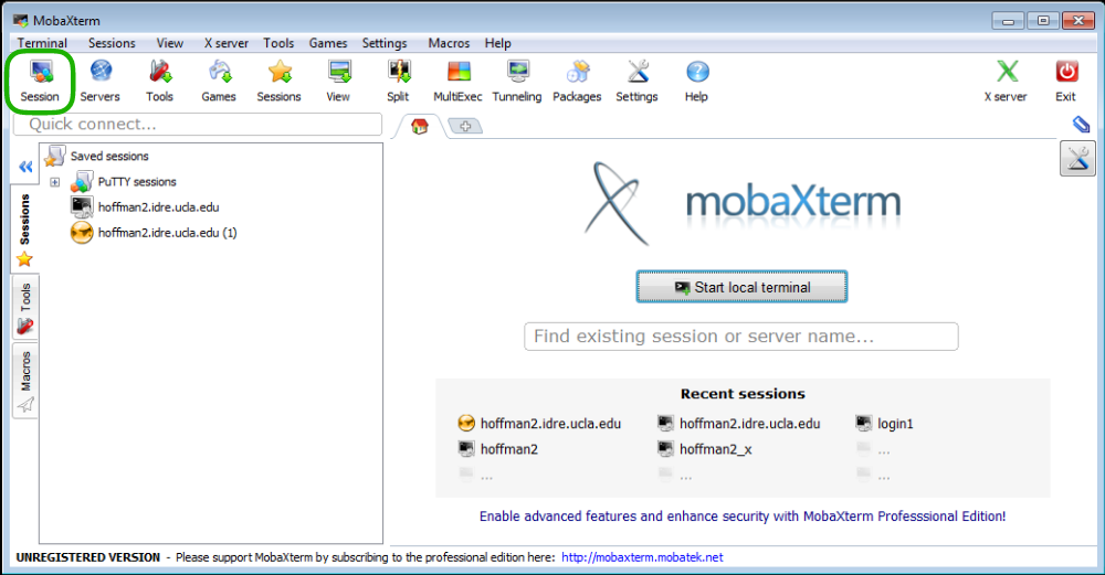 Image showing the MobaXterm application open with the Sessions button in the upper left corner circled in green